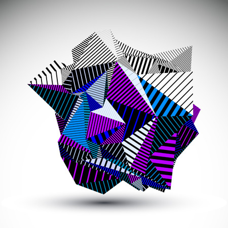 Decorative complicated unusual eps8 figure constructed from triangles with parallel black lines. Striped multifaceted asymmetric contrast element, colorful illustration for technology projects. Illustration