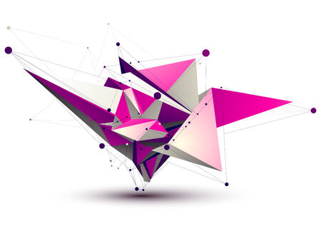 vertex: Magenta contemporary eps8 technology construction, abstract dimensional figure with lines mesh. Spatial object.