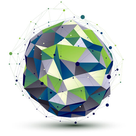 Green orbed complicated network figure constructed from colorful triangles, dimensional spherical figure with lines mesh isolated on white background. Vector