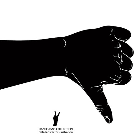 Thumb down hand sign, detailed black and white vector illustration. Vector