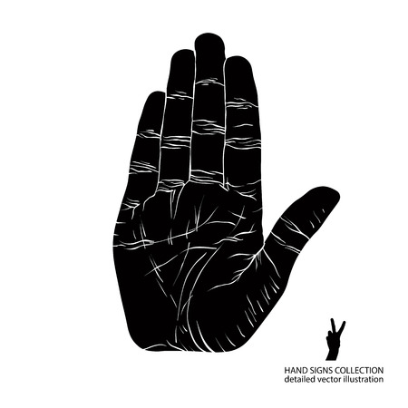 Stop hand sign, detailed black and white vector illustration. Vector