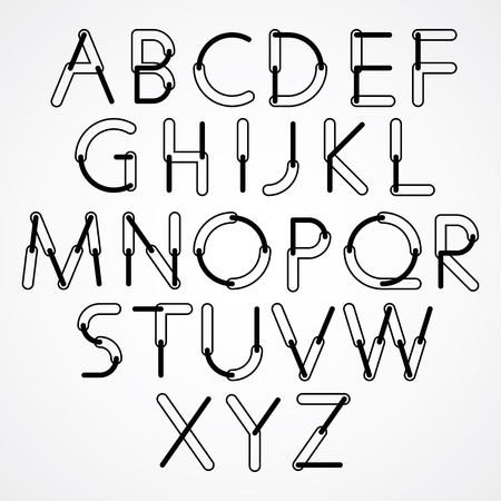 Funny constructive vector black and white font, rounded cartoon letters.