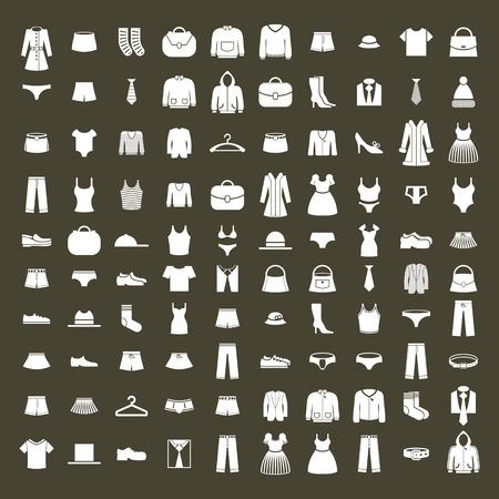 Abbigliamento set di icone vettoriali, vettore di raccolta di segni e simboli di moda.