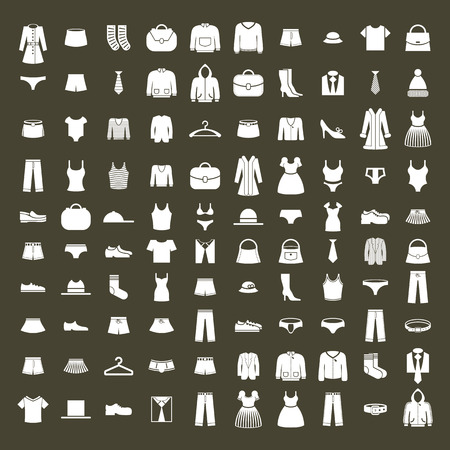clothing stores: Clothes icon vector set, vector collection of fashion signs and symbols.