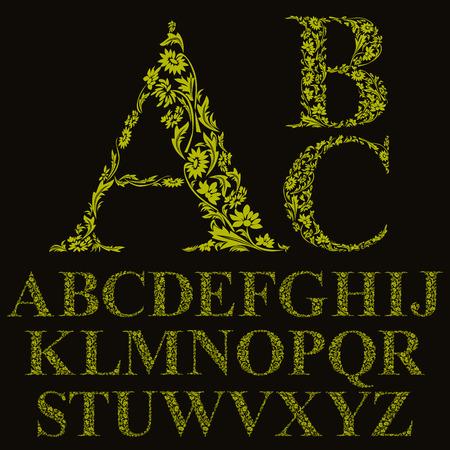 r p m: Vintage style floral letters font, vector alphabet. Illustration