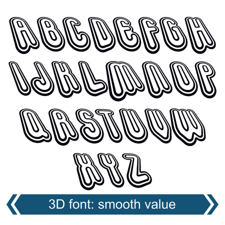 verb: 3d retro font in rotation, stylish vector letters design. Uppercase black and white letters.