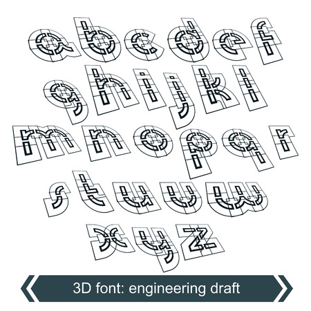 verb: Rotated constructor dimensional script, vector geometric letters.