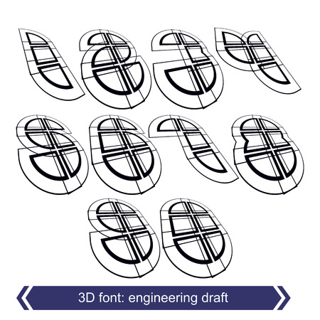 web 2 0: 3d retro typeset with lines in rotation, vector doodle contemporary numbers. Illustration
