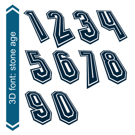 numeration: Rotated smooth dimensional numbers, vector geometric numeration. Illustration