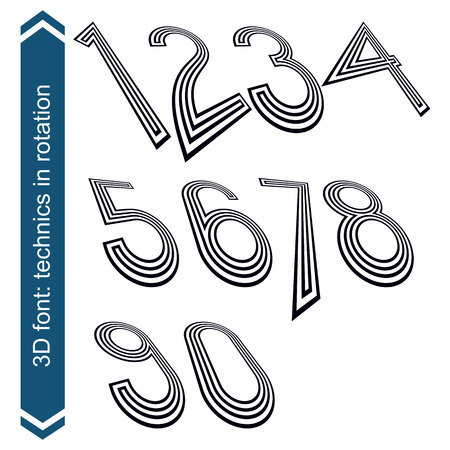 numeration: Dimensional numbers with rotation effect, perspective unusual numeration. Illustration