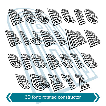 white letters: 3d retro font in rotation, stylish vector letters design. Uppercase black and white letters.
