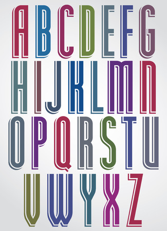narrow: Colorful animated narrow font, comic upper case letters with white outline.  Illustration