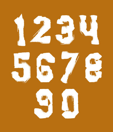 White hand painted numerals, collection of acrylic realistic digits with brushstrokes, over color. Vector