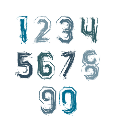 Handwritten colorful vector freak numbers, stylish digits set drawn with ink brush. Vector