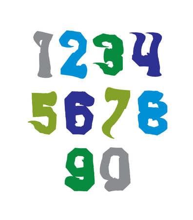 Bright hand painted daub numerals, collection of acrylic undulate realistic digits with brushstrokes. Vector