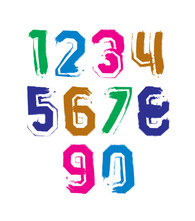 Stroked bright numbers set drawn with real ink brush, vector childish numerals collection with white outline. Vector