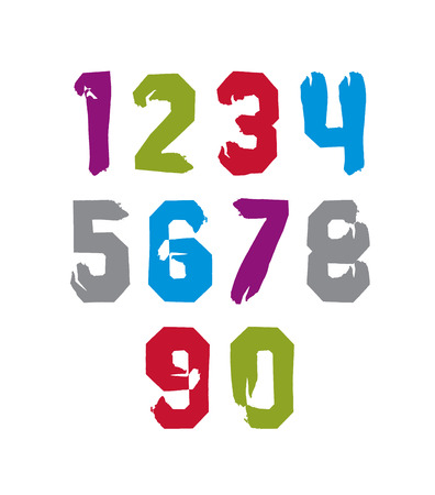 Modern watercolor brushed numbers set, hand-drawn colorful stylish numerals isolated on white background.  Vector