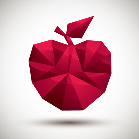 gm: Red apple geometric icon made in 3d modern style, best for use as symbol or design element.