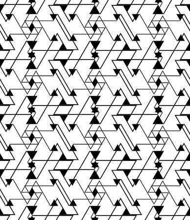 white wallpaper: Geometric contrast maze abstract seamless pattern, continuous illusive vector background. Messy black and white wallpaper covering with triangles and stars, graphic design contemporary texture.