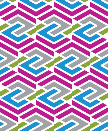 охватывающей: Мозаика бесшовные узор с параллельными линиями и геометрическими элементами, бесконечной декоративный текстиль, вектор текстурированные покрытия. Переплетаются красочная иллюстрация.