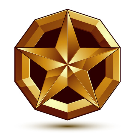 Heraldic 3d glossy icon can be used in web and graphic design, five-pointed golden star, clear EPS 8 vector.