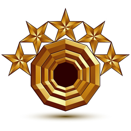 Vector glorious glossy design element with 5 luxury 3d golden stars, conceptual graphic template, clear EPS 8. Illustration
