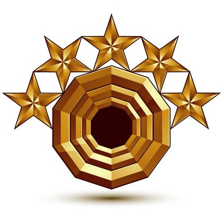 glorioso: Vector glorioso elemento de design brilhante, com 5 estrelas de luxo de ouro 3d, modelo gr�fico conceptual, EPS 8 claras.