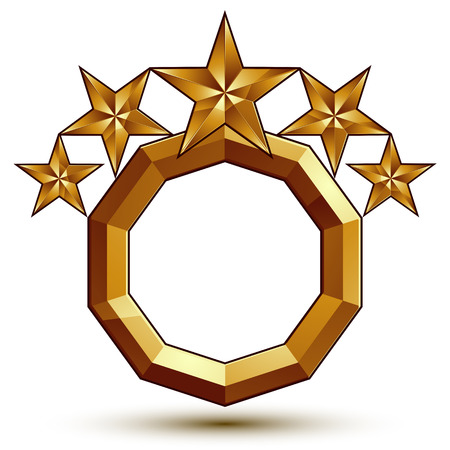 aurum: Vector classic emblem isolated on white background. Aristocratic golden stars, clear EPS 8.