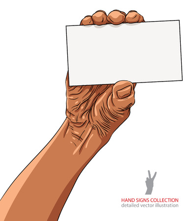 advertize: Hand showing business card, African ethnicity, detailed black and white vector illustration. Illustration
