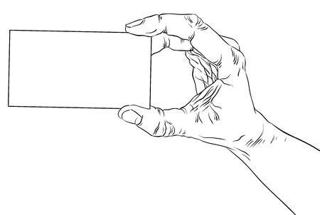 advertize: Hand showing business card, detailed black and white lines vector illustration, hand drawn. Illustration