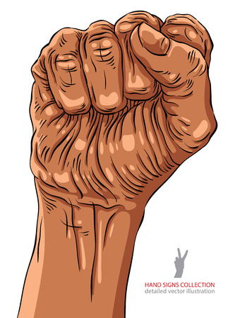freedom of expression: Clenched fist held high in protest hand sign, African ethnicity, detailed vector illustration. Illustration