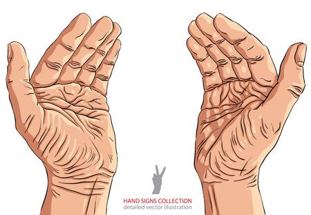 Protéger les mains vides avec la place pour un petit objet, illustration vectorielle détaillée.