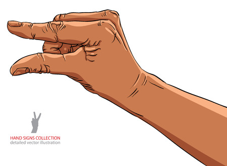 Hand showing small value, or use it to put some small object between the fingers, African ethnicity detailed illustration.