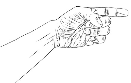 Finger pointing hand, detailed black and white lines vector illustration, hand sign, hand drawn. Vector