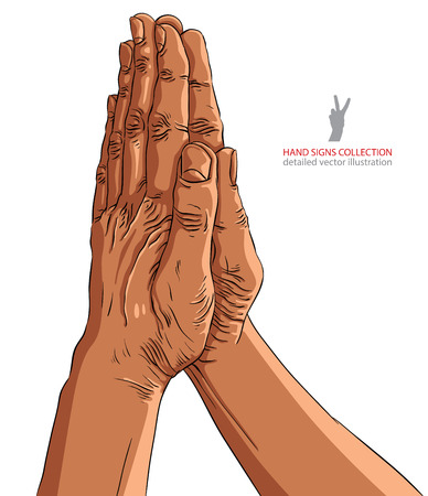 sinner: Praying hands, African ethnicity, detailed vector illustration, hand drawn.