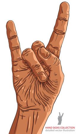 heavy metal music: Rock on segno della mano, rock n roll, hard rock, heavy metal, la musica, le linee dettagliata illustrazione vettoriale, disegnata a mano. Vettoriali