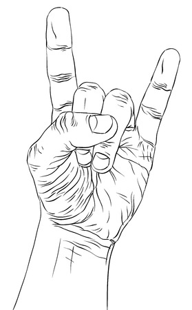 drawn metal: Rock on hand sign, rock n roll, hard rock, heavy metal, music, detailed black and white lines vector illustration, hand drawn.