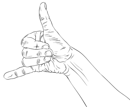 Call me hand sign, detailed black and white lines vector illustration, hand drawn. Vector