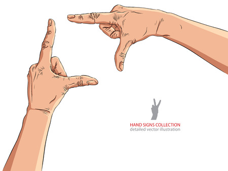 viewport: Hands shaped in viewfinder, detailed vector illustration.
