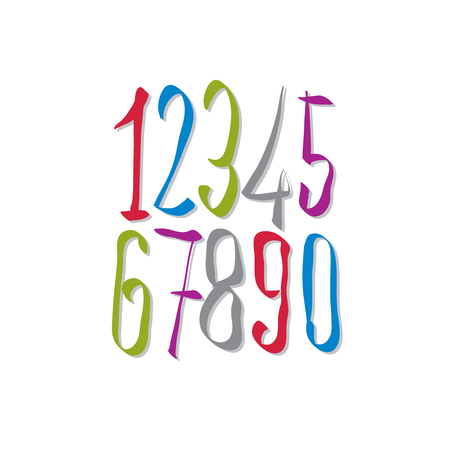 Hand written fresh vector numbers, stylish drawn numbers set. Vector