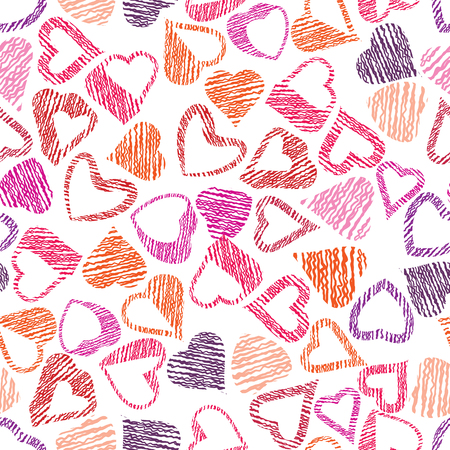 Hears seamless pattern, love valentine and wedding theme seamless vector background, hand drawn lines textures used.