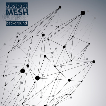 symbol technology: Abstract 3D structure polygonal vector network pattern, contrast background with black and white art deformed figure.