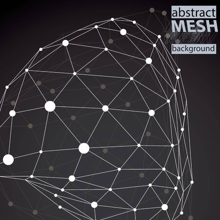 spatial: Modern digital technology style, abstract unusual background, vector tech complicated 3d figure placed on dark backdrop.