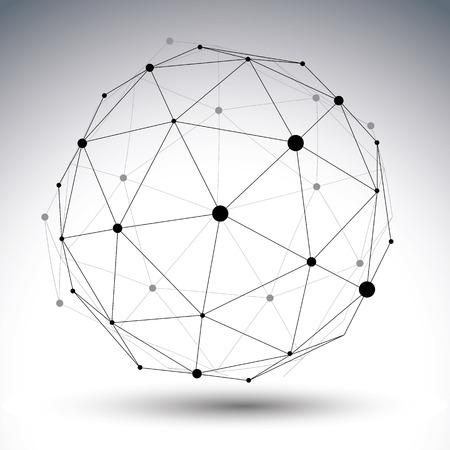 esfera: Contemporáneo negro techno y blanco elegante construcción asimétrica, objeto tridimensional abstracto con líneas conectadas y puntos. Vectores