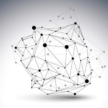 contraste: Vector 3D abstractos dise�o, poligonal complicado cifra contrasta con las l�neas de malla y puntos sobre fondo blanco.