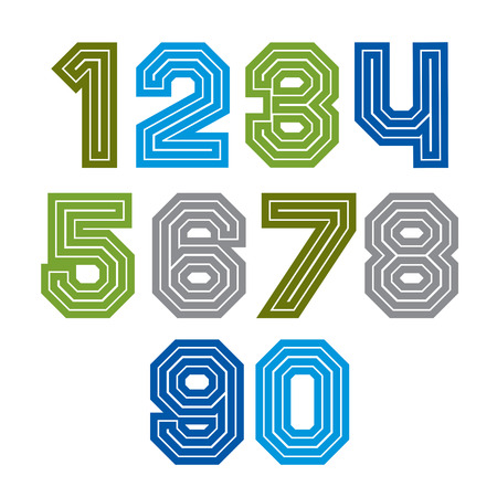 extensive: Colorful regular acute-angled digits, bright vector straight numbers isolated on white background. Wide graphic contemporary numeration.