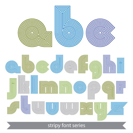 verb: Extraordinary round striped font. Vector light lowercase letters isolated on white background.