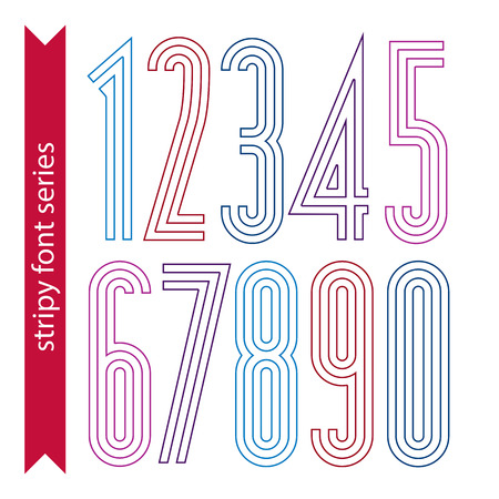 sans: Lined geometric numeration, colorful light numbers for use in posters and advertising. Tall stripy digits.