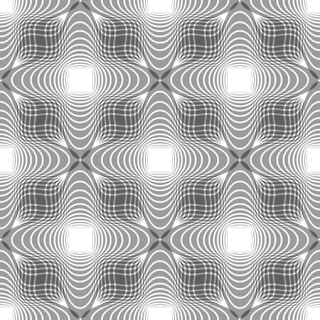 mirage: Seamless vintage floral background, geometric lined monochrome seamless pattern, black and white vector illustration. Illustration