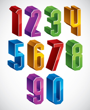 3d geometric numbers set in blue and green colors, colorful glossy numerals for advertising and web design. Illustration